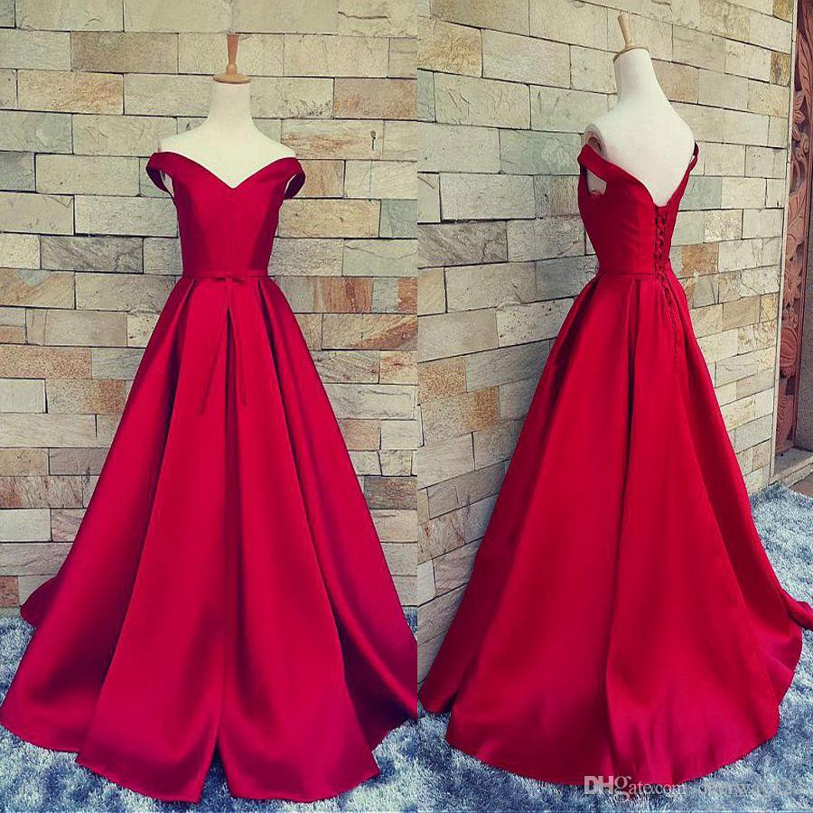Off The Shoulder A Line Satin Prom Dresses With Pleats Lace Up Back Simple  Evening Dress Vestidos De Gala Largos Plus Size Dresses Prom From  Deerway123 4801f802b