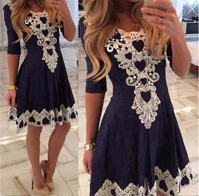 Women Evening Party Dresses V Collar Half Sleeve Sexy Night Club Woman Lace Dress For Lady