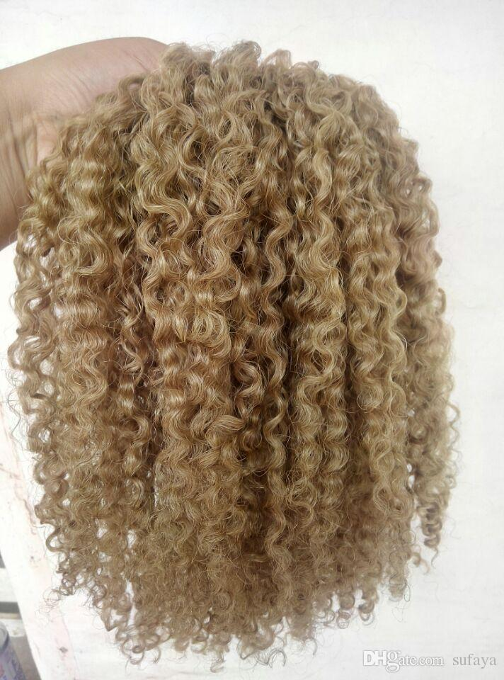 brazilian human virgin remy clip ins hair extensions kinky curls hair weft medum brown dark blonde color