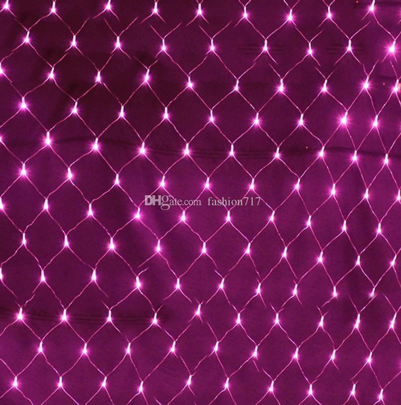 1.5 mx 1.5 m 96 LED süper parlak 220 V 8 modları net örgü halat ışık noel ışıkları yeni yıl tatil bahçe aydınlatma perdesi ışıkları