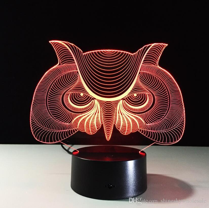Christmas Gift for children 3D owl shaped moon night light LED changing acrylic touch control kids bedside table lamp
