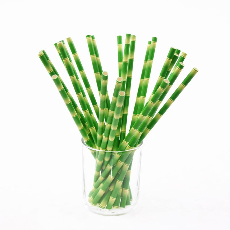 Wholesale-50pcs/lot Paper Straws Bamboo Print Tiki Paper Straws Hawaiian  Jungle Luau Colored Patterned Mason Jar Straws Bulk Xmas