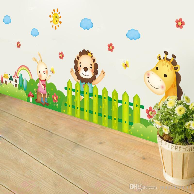 Cartoon Animals Garden Wall Decals Home Decor Cloud Sun Fence Wall Border Wallpaper Poster Kids Boys Girls Room Nursery Wall Graphic Mural
