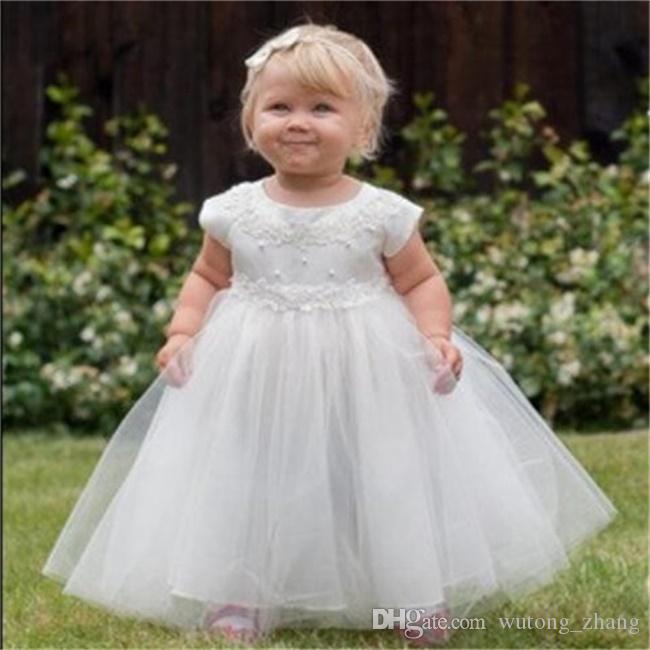 Новые платья для девочек-цветочниц с высокой горловиной и рукавами Вечеринка Pageant Причастие платье для свадьбы Маленькие девочки Дети / Детское платье