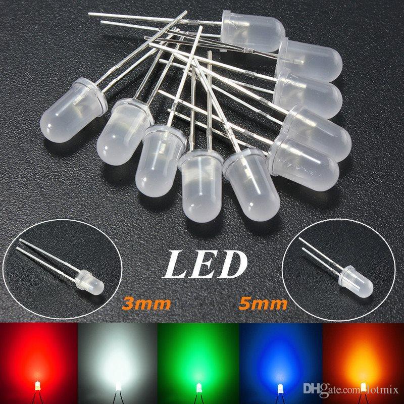 도매 가격 3mm / 5mm 라운드 톱 유방 확산 LED 에미 터 다이오드 라이트 DIY Led 세트 레드 / 그린 / 블루 / 옐로우 / 화이트