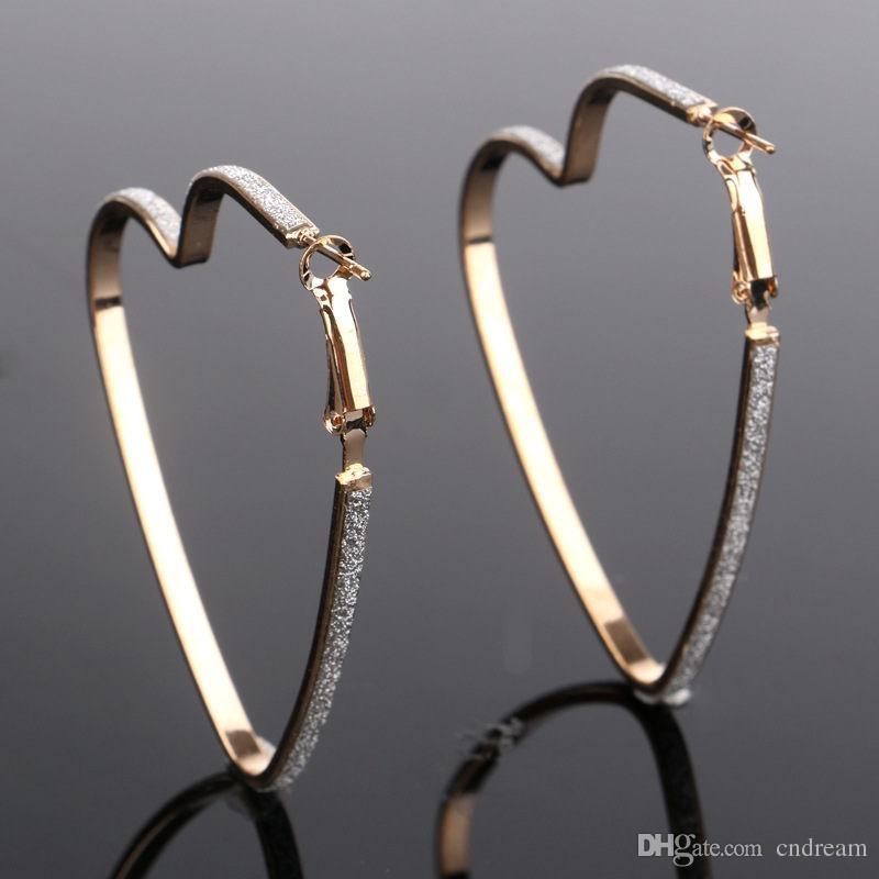 Heart Love Earrings Silver Gold Hoop earings Rings Pierced Ear Cuffs earrings new fashion jewelry women earrings will and sandy Drop Ship