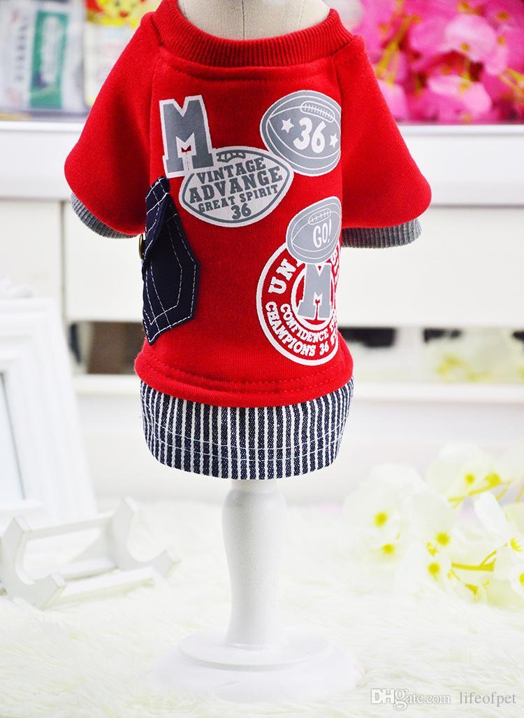 새로운 애완 동물 개 스웨터 코트 옷 애완 동물 재킷 의상 코튼 패션 야구 셔츠 유니폼 의류 개 의류
