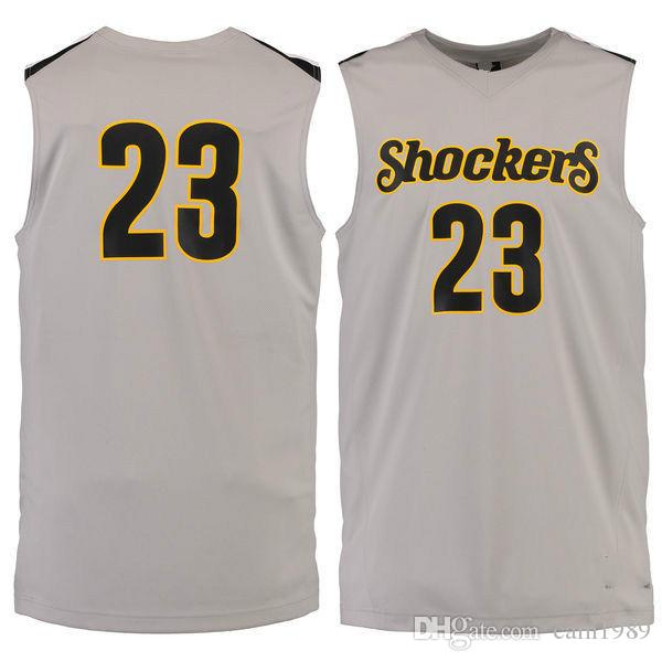 sale retailer 49d1f b1b47 NO.23 Wichita State Shockers Men College Basketball Jersey Embroidery  Athletic Outdoor Apparel Mens Sport Jerseys Size S-3XL