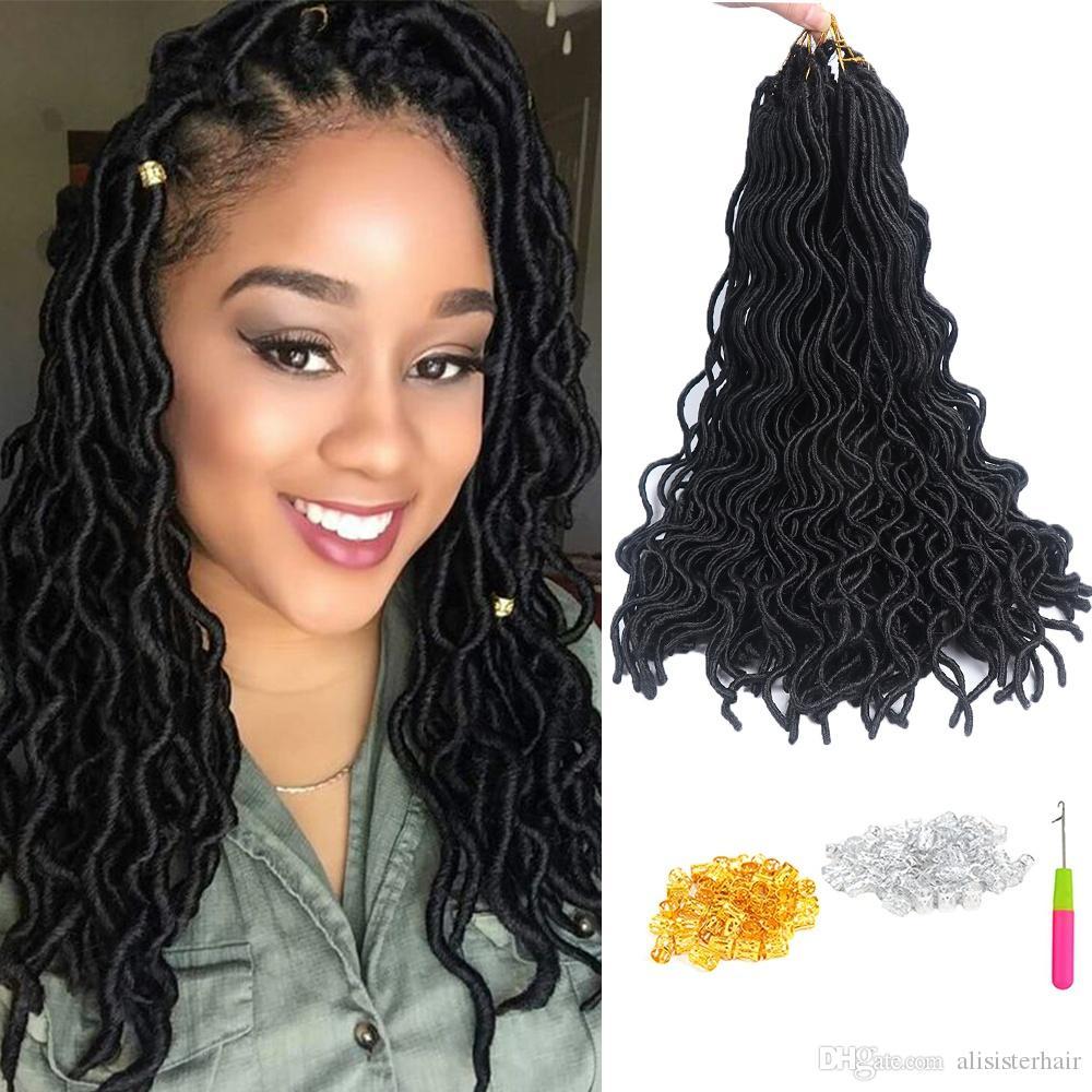 acheter 20 24 racines paquet ondul faux locs extensions de cheveux au crochet 6 paquets faux. Black Bedroom Furniture Sets. Home Design Ideas