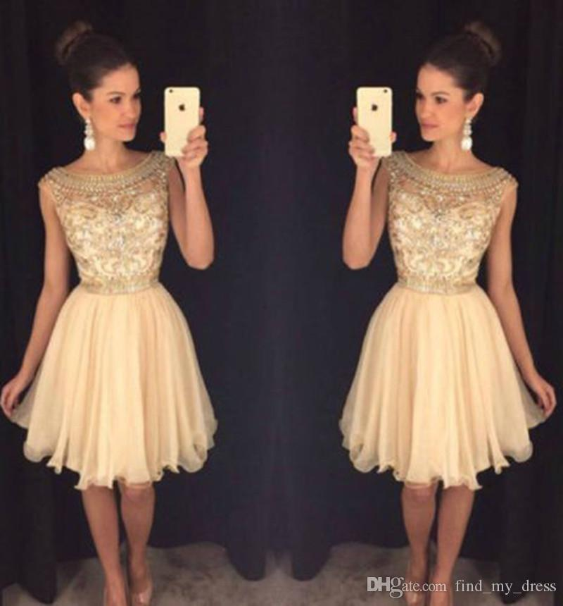 Scoop Sparkly Short Homecoming Dress 2017 New Crystal Knee Length Cocktail Gowns Party Champagne Gorgeous Tulle Beads Cap Sleeve A Line