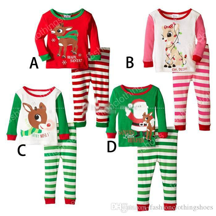 Xmas Christmas Infant Baby Elk Stripe Pajamas Sets Kids Christmas ...
