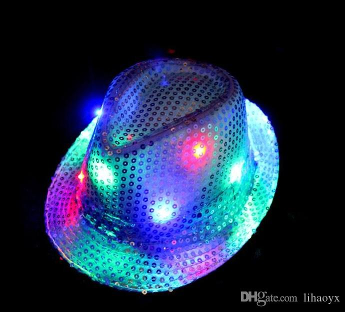 Christmas Woman Man Sequins Light Up LED Hip Hop Jazz Hats Cap Flashing Blinking Party New Year b607