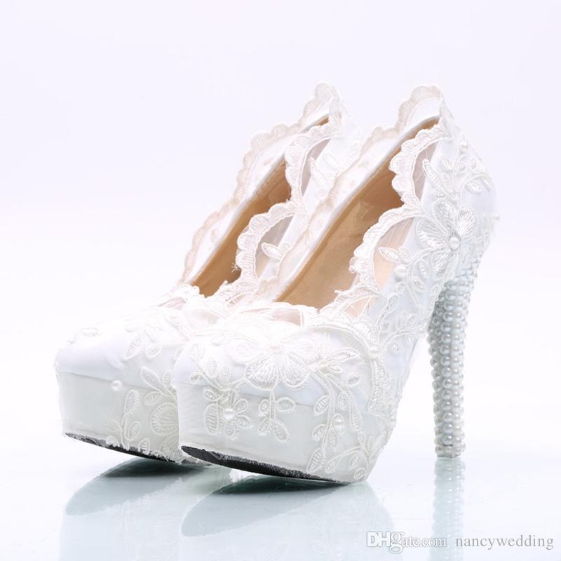 White Flower Lace Wedding Shoes High Heel Platforms Bridal Formal Dress Shoes Adult Ceremony Pumps Bridesmaid Shoes Plus Size