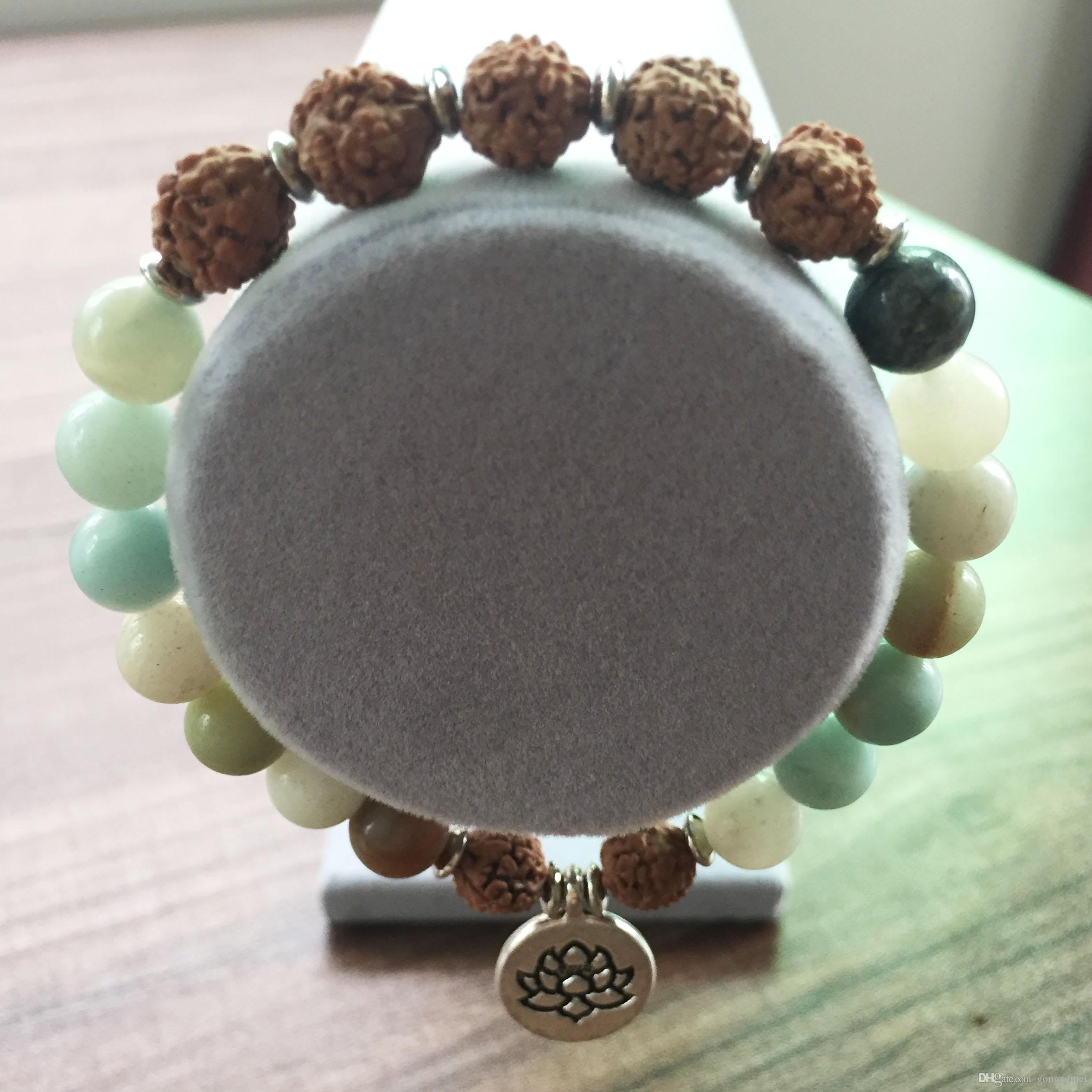 Naturstein 8MM Amazonite Armband Perlen Armbänder Armband Frauen Lotus Anhänger Yoga Gebet Mala Perlen Bodhi Armbänder