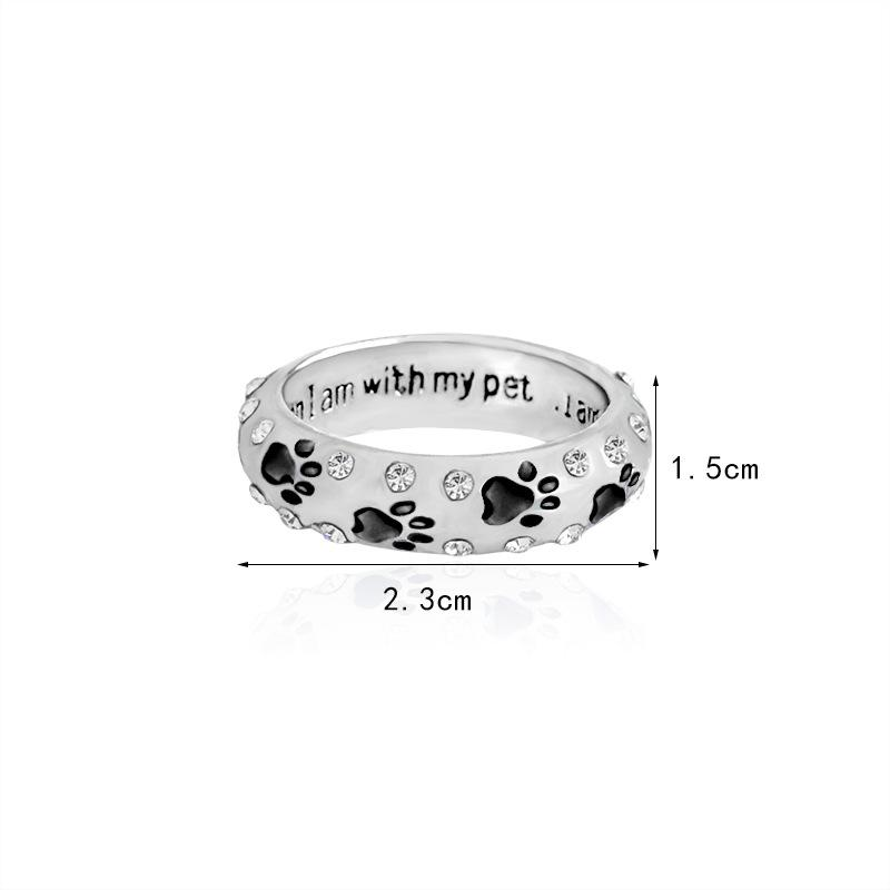 Crystal Rings When I Am with My Pet Letter Black Red Enamel Dog paw footprints Finger Ring Nail Ring for Women Jewelry 080157