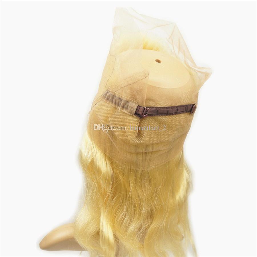 금발 버진 사람의 머리카락 금발 360 레이스 정면 폐쇄 사전 뽑아 바디 웨이브 전체 360 정면 밴드와 아기의 머리카락 4 개 로트