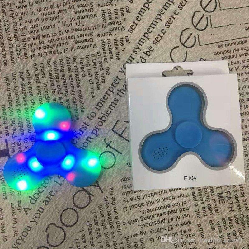 50 pz / lotto Led giradischi a mano filo di plastica Fingertip Gyro altoparlante bluetooth ADHD e HandSpinner giocattoli EDC decompressione ansia