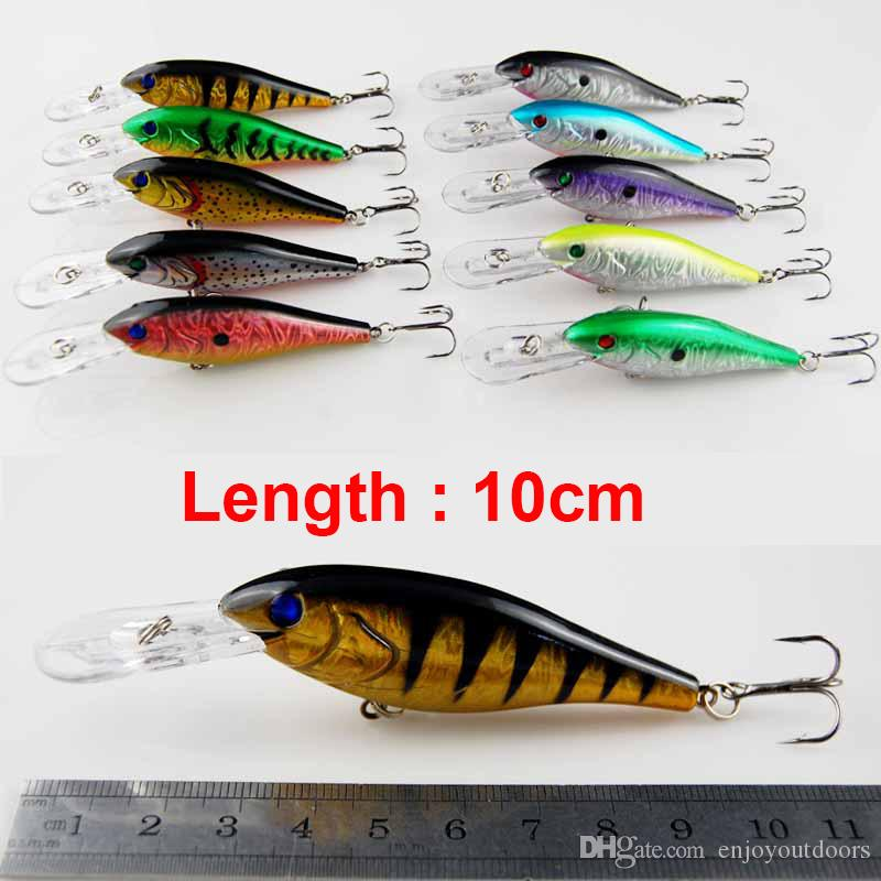 10cm Plastic Hard Fishing Lures Saltwater Fishing Bass Pike Deep Diver Floating Artificial Fishing Wobblers Lure Hooks