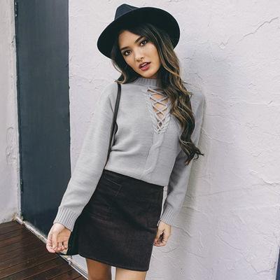 Inverno femminile maglione donne sexy pullover profondo scollo av Kintting fasciatura scava fuori maniche lunghe maglione allentato Moda vendite calde negli Stati Uniti