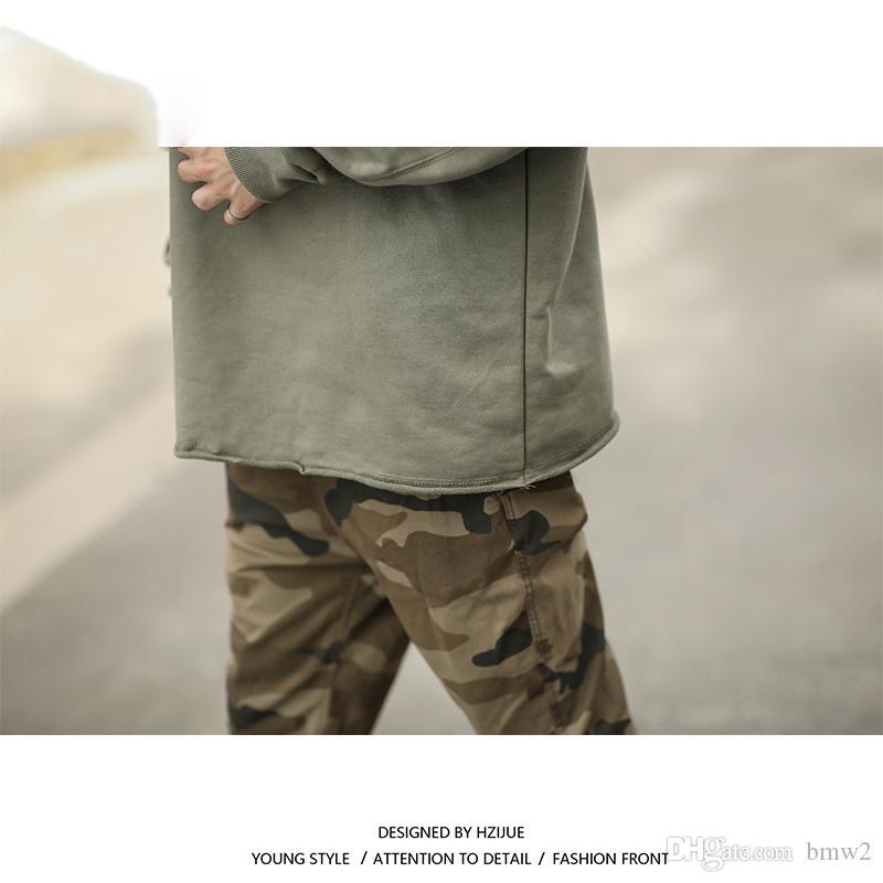 2017 Oversize Man Worn Pure Color Drop-spalla Felpe con cappuccio Felpe Hip Hop Streetwear Moda Uomo Felpe con cappuccio S-XL