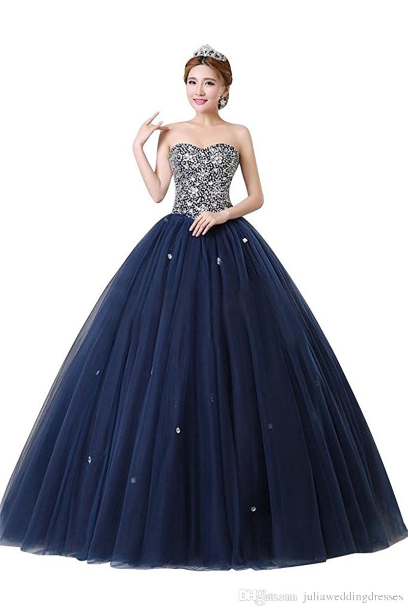 2017 Sexy Cheap Blue Ball Gown Quinceanera Dresses with Beaded Crystals Sweet 16 Dress Lace Up Floor Length vestido para debutante BM78