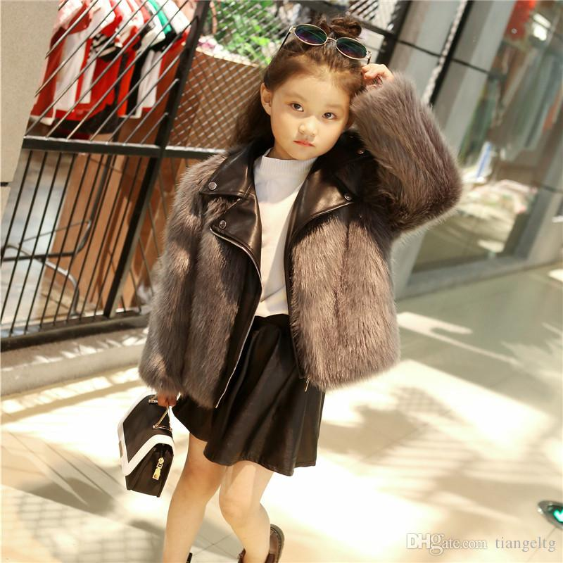 a64a71c4b14c New Kids Fur Coats Boys Girls PU Leather Faux Fox Fur Motorcycle ...