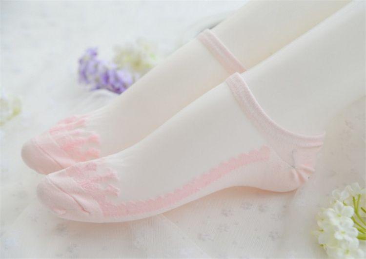 New Fashion Colorful Ultrathin Socks Transparent socks sweet Crystal Lace Elastic Short Women Socks for Women B1152