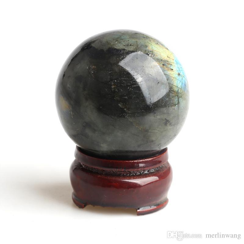 1.65-1.89 inches Wholesale natural Crystal Labradorite Spheres healing rainbow gemstone balls + stand