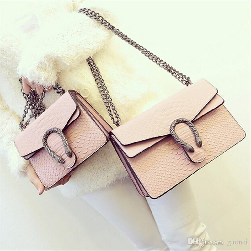 2017 Nuove borse di design in pelle di serpente in rilievo delle donne di modo borsa catena Crossbody Bag Designer di marca Messenger Bag sac a main