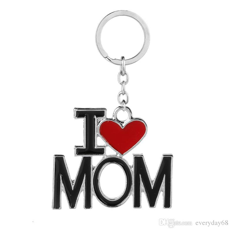 Nouveau trousseau avec lettres d'amour d'I PAPA MAMAN PAPA MAMAN Red Love Heart Porte-clés anneau pour le cadeau Fête des Mères Fête des Pères