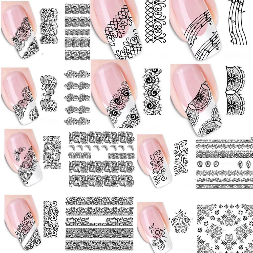 Wholesale Mixed Fashion Sex Black Lace Vine Charm Nail Art Stickers ...