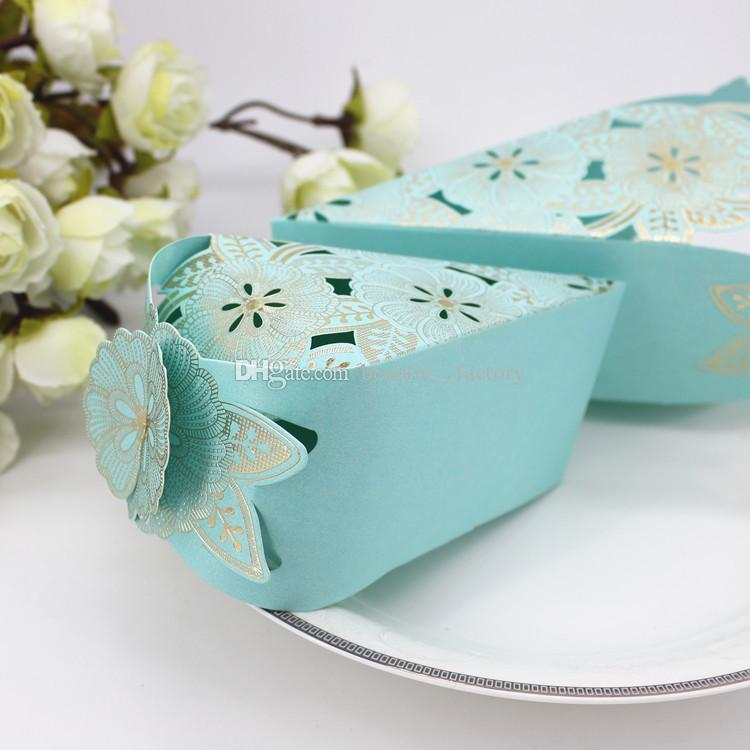 Wedding Cake Candy Boxes Paper Favors Gift Box Baby Shower Unique Design Blue or Pink
