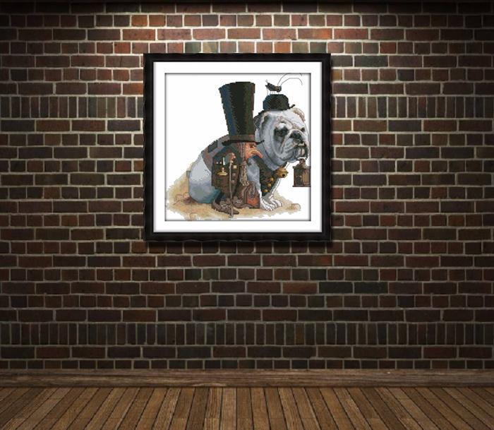 Guidare il modo in cui l'animale cane, stile paintng Punto croce Set di cucito Kit di ricamo dipinti contati stampati su tela DMC 14CT / 11CT