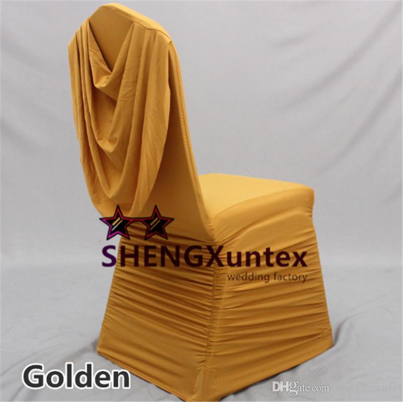 Gold Color Ruffled Lycra Spandex Chair Cover Back With A Swag