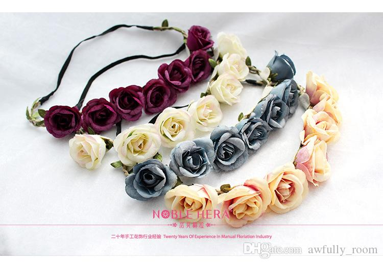 10pcs Rattan Artificial Berries Flower Headpiece Headband Hairband Head Wreath DIY Floral Bridal Garland Crown Halo Wedding Hair Accessories