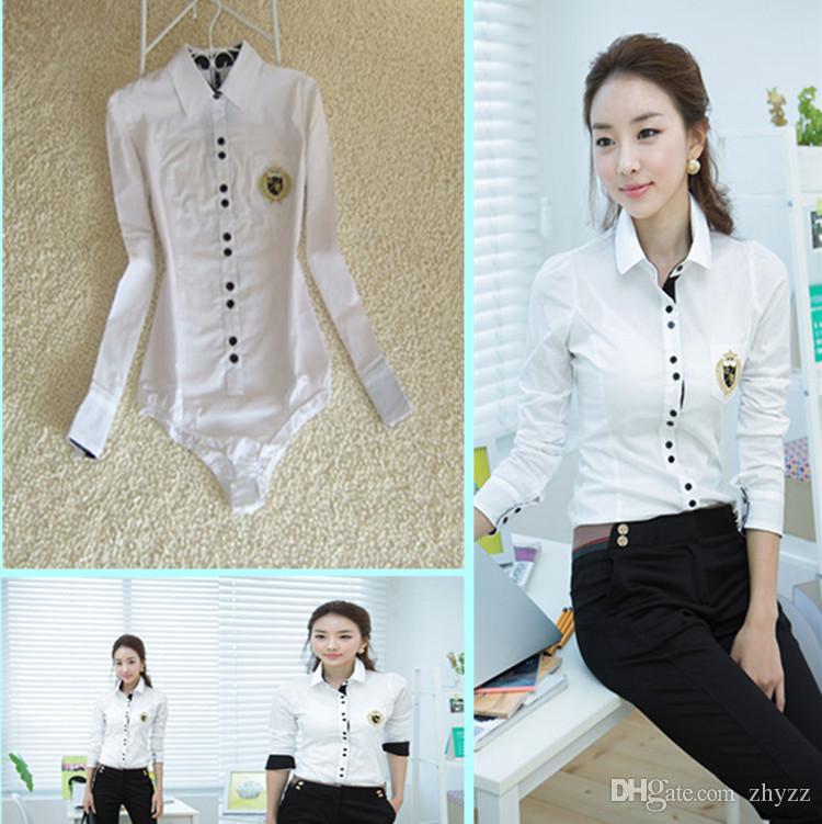 Fashion Women Body Shirt Long Sleeve Peter Pan Collar Blouses Ladies