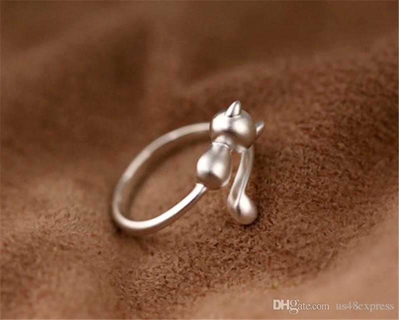 2017 925 Sterling Silver Cat Adjustable Rings For Women Jewelry Beautiful Finger Open Rings For Party Birthday Wedding Gift