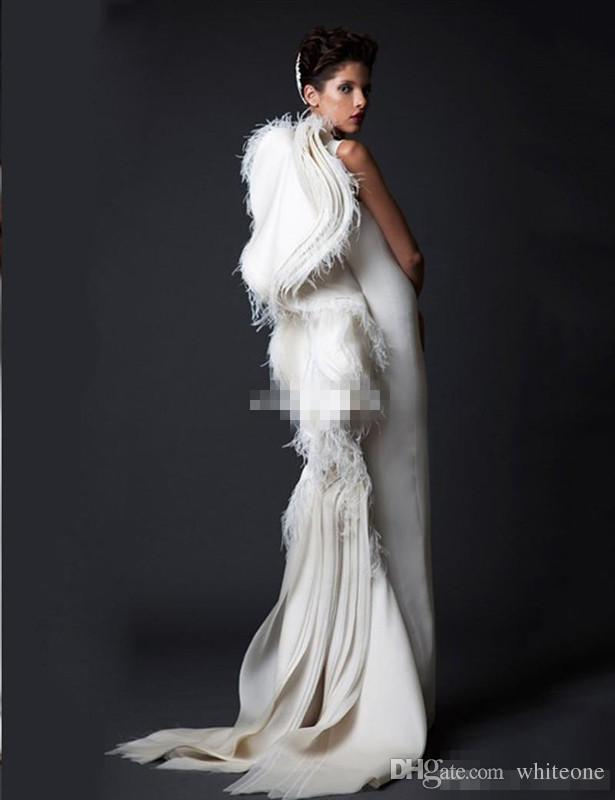 Krikor Jabotian Ivory Feather Women Formal Evening Dresses Sheath Ruffles Satin 2017 Arabic Pageant Gowns Long Prom Occasion Dress Vintage