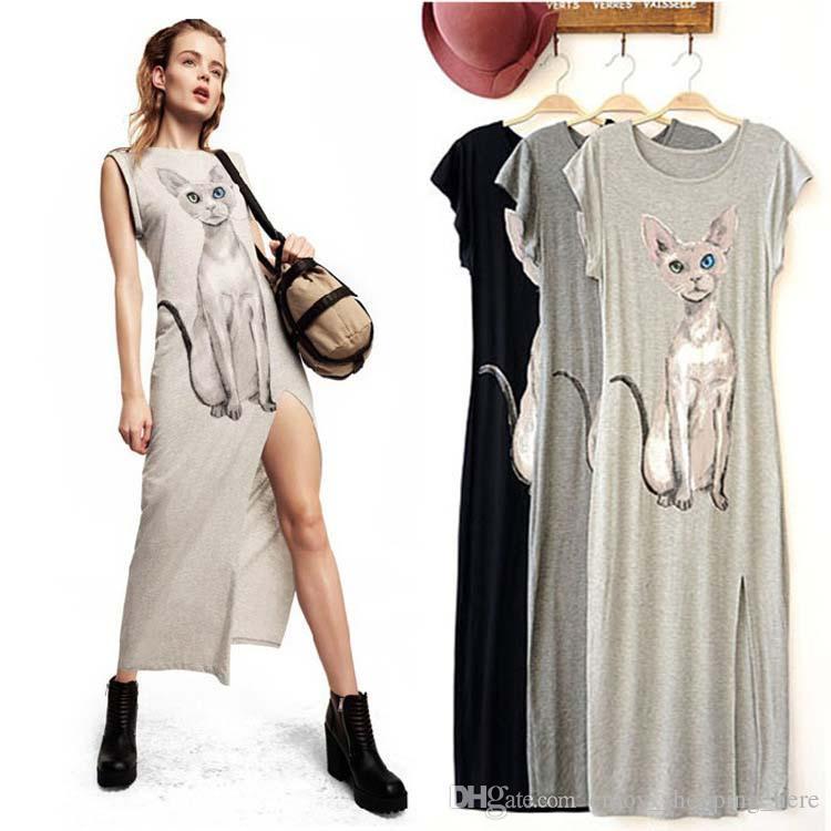 3e98c57396bd3c Longue Maxi robe chat impression Femmes Sexy Side Split belle chat Cartoon  Imprimer manches courtes Maxi Long Tank Dress jupe grise noire