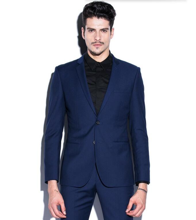 Yeni varış erkekler suit moda erkekler düğün smokin siyah yaka tek göğüslü balo suit smokin sağdıç suit suits ceket + pantolon