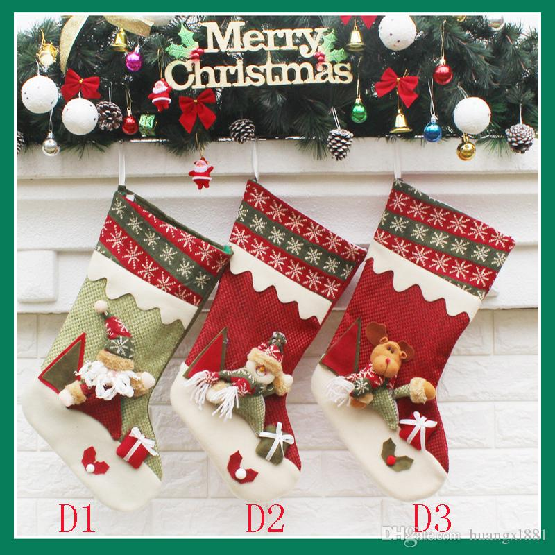 2017 new 4 models  Christmas socks ornament decorations party Christmas socks candy socks Christmas gift bag hot