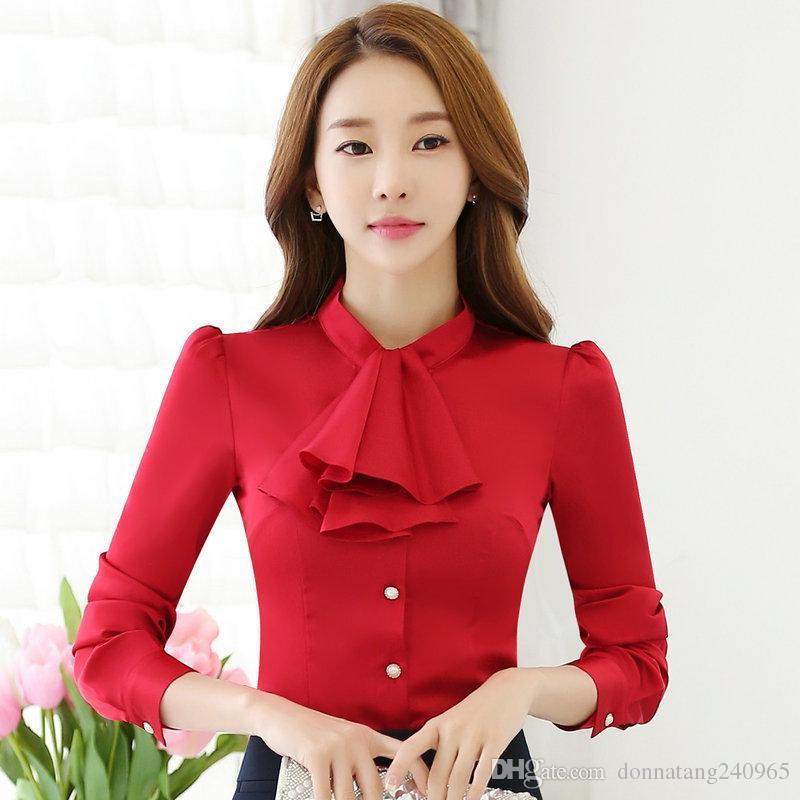 8335e07438a New Elegant Ruffles Shirt Women OL Formal Slim Stand Collar Long Sleeve  Chiffon Blouse Office Ladies Work Wear Plus Size Tops 4XL Elegant Shirt  Women ...