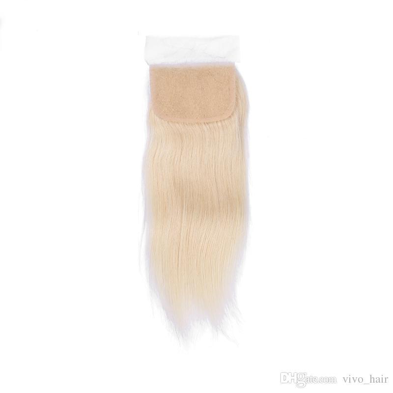9A Barato Venta # 613 Rubio peruano Virgen Remy sedoso recto paquetes de cabello humano con cierre de encaje superior 3 paquetes con cierre Envío gratis