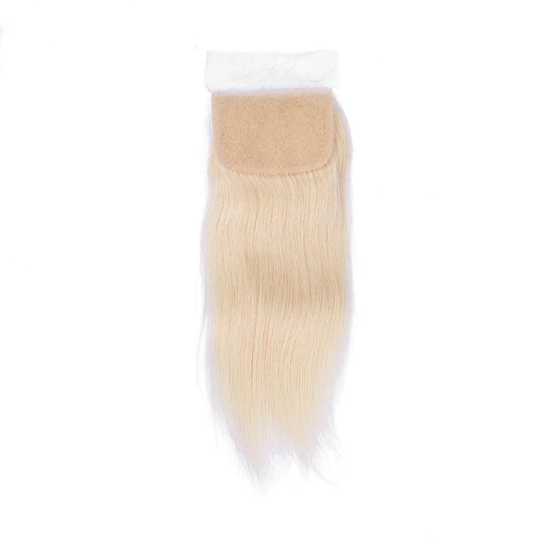 9A Ucuz Satış # 613 Sarışın Perulu Bakire Remy İpeksi Düz İnsan Saç Demetleri Ile Üst Dantel Kapatma 3 Demetleri Ile Kapatma ücretsiz Kargo