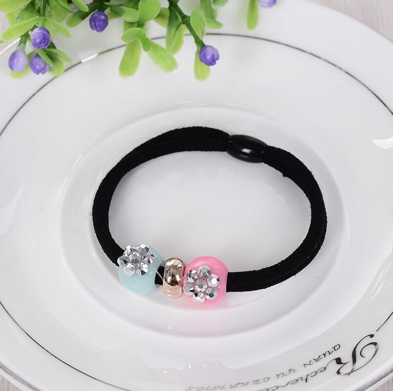 High quality Girls color high elastic small fresh wear beads point drill rubber band hair circle FQ004 a
