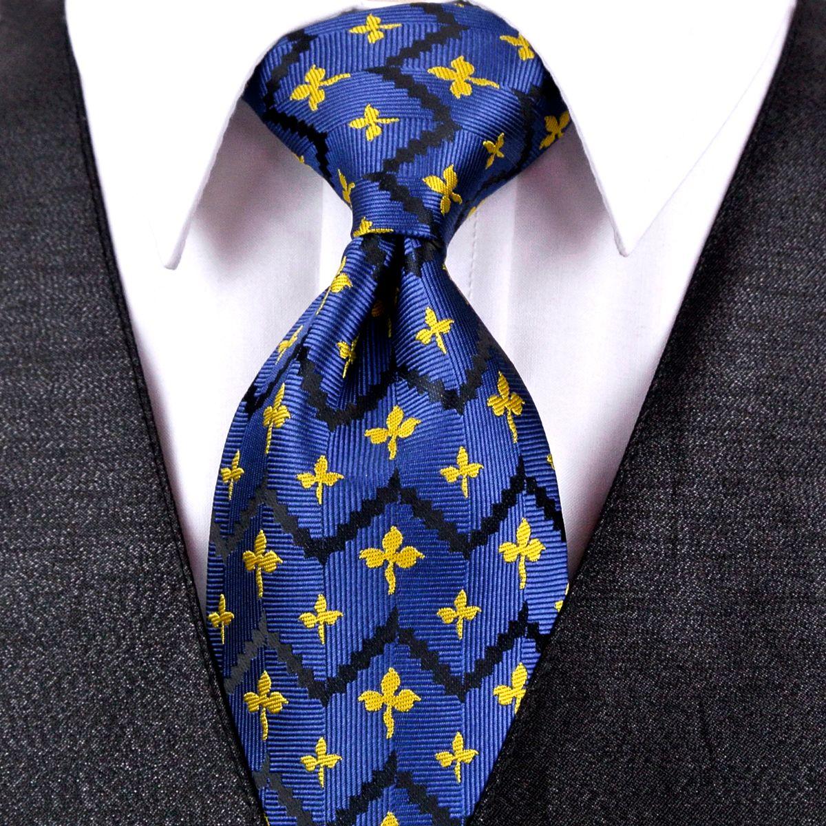 7a2510fdd4db J26 Navy Blue Yellow Geometric Mens Ties Neckties Handkerchief 100% Silk  Jacquard Woven Tie Set Elegant Wholesale Canada 2019 From Navyblue, ...