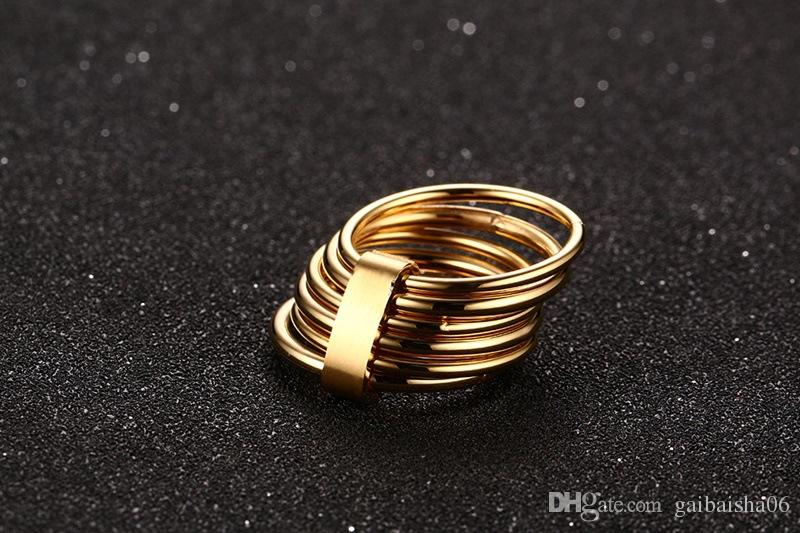 Meaeguet Women Caged Ring Gold Plead 6 Plain Bands Interlocked Stacked Wide Statement Cocktail Ring US Size 6-9 R-158