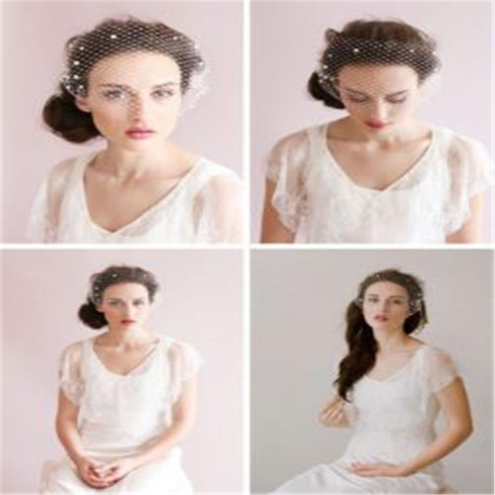 Wholesale Simple wedding white organza veils bridal veil sequins Bridal Short Veils new best selling veil Wedding Bridal Accessory wed436