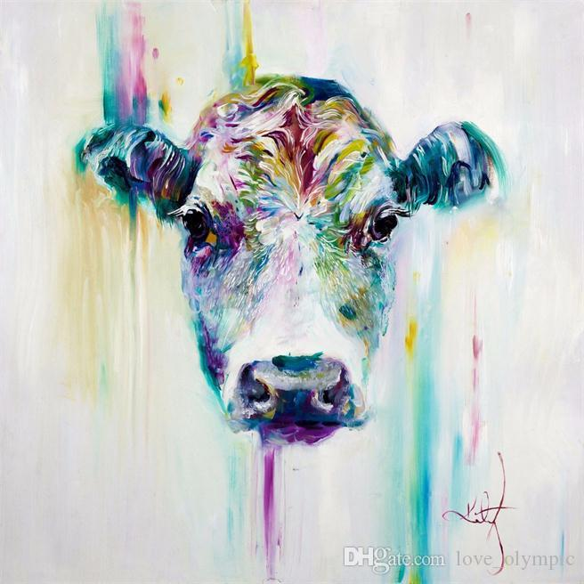 Framed Cartoon Cool colored Cow ,High Quality Hand Painted Wall Decor Abstract Animal Art Oil Painting Canvas Multi Sizes Options R47