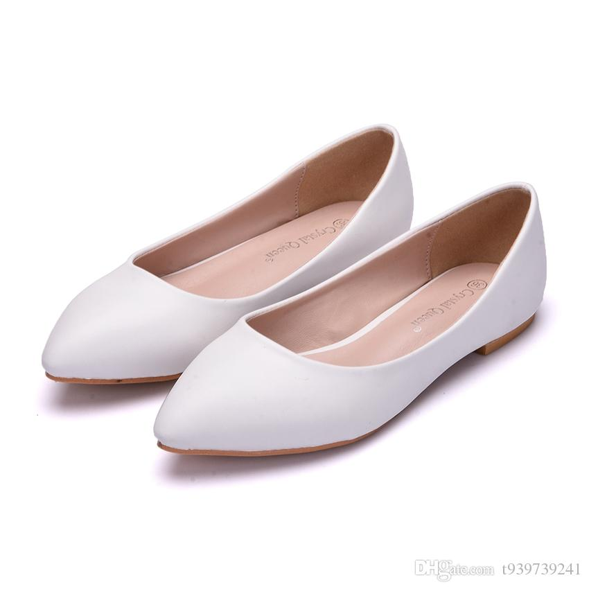 Crystal Quee Women Shoes Flat wedding shoes Platform Heels Shoes White Women Pointed Toe Girl